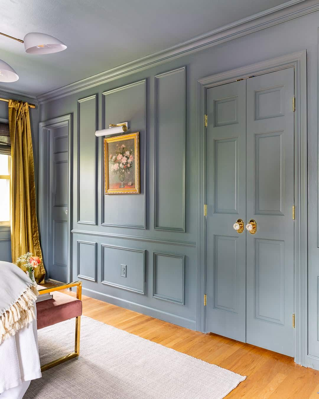 Painted panelled bedroom