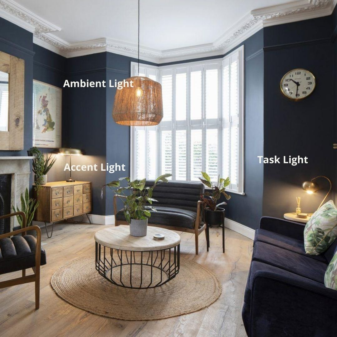 Layered lighting in a period living room